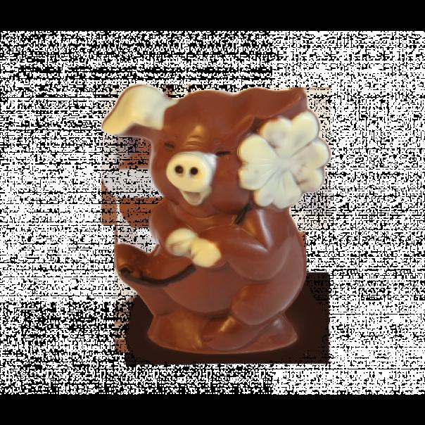 Kleeblatt Glücksschwein aus Schokolade
